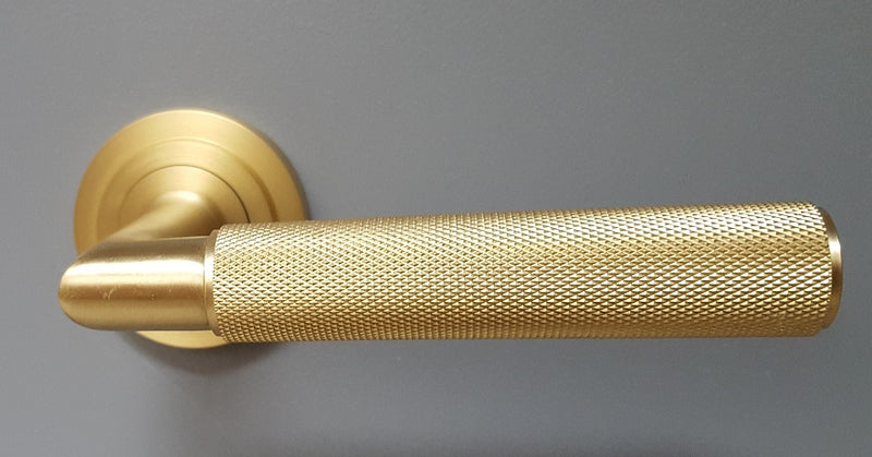 PLAIN ROSE - Piccadilly Knurled Lever Door Handles - Burlington Range - Satin Brass - BUR40/50SB