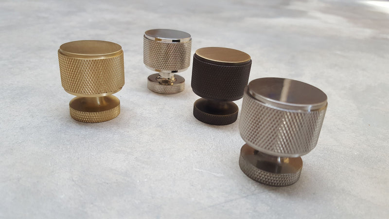 BUR500 KNURLED CABINET KNOBS - BURLINGTON COLLECTION - SATIN BRASS, ANTIQUE BRASS, SATIN NICKEL & POLISHED NICKEL