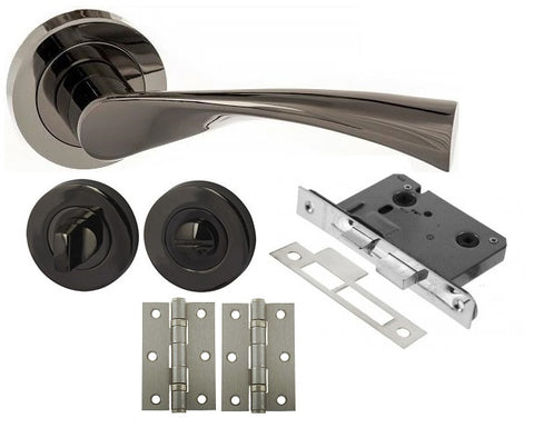 Black Nickel Door Handle Packs For Latch, Lock & Bathroom Doors