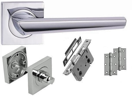 Polished Chrome - Bathroom - Door Handle Pack On Square Rose