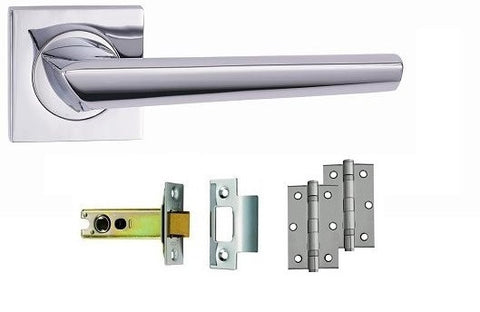 Polished Chrome - Latch - Door Handles On Square Rose Pack