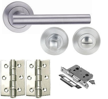 Door Handles on Rose Pack - Bathroom - Polished Chrome - Satin Chrome