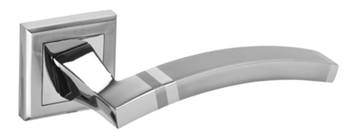 Funk Polished & Satin Chrome Dual Finish Door Handles on Square Rose