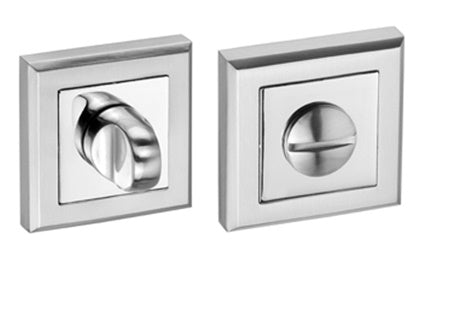 Square Rose Bathroom Turn & Release Dual Finish Polished & Satin Chrome