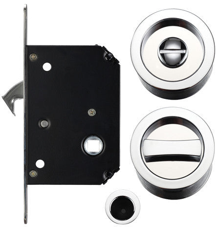 Pocket Door/Sliding Door Lock Set, Polished Chrome FB81CP