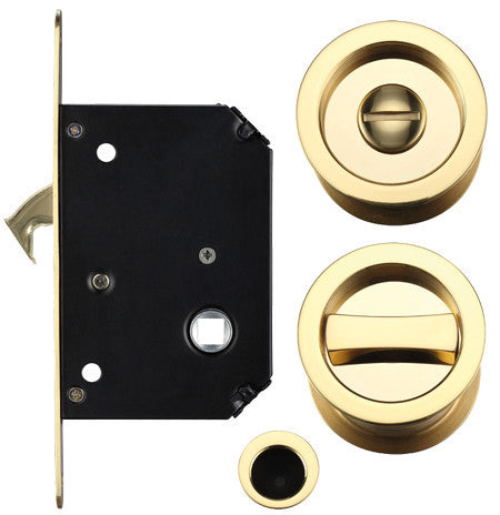 Pocket Door/Sliding Door Lock Set, Polished Brass FB81PB