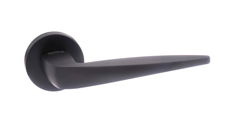 Atlantic UK Forme FMR272MB 'Foglia' Matt Black Door Handles on Round Rose
