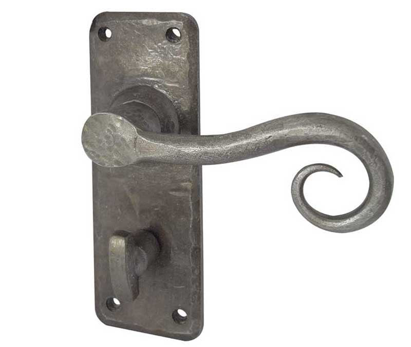 Chester Handforged Pewter Door Handles Bathroom