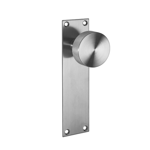 LATCH PLATE - Satin Stainless Steel Knurled Door Knobs On Flush Plate - J70