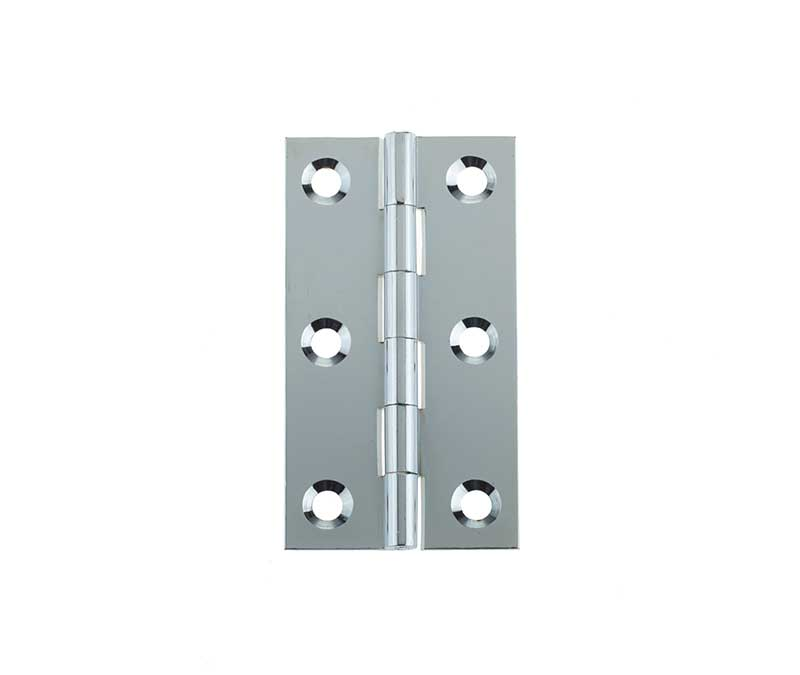 63mm x 35mm Solid Drawn Cabinet Butt Hinges - Polished Chrome