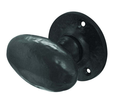 Black Antique Oval Shaped Frelan Mortice Door Knobs JAB48