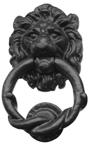 JAB8 Lion Head Black Antique Door Knocker