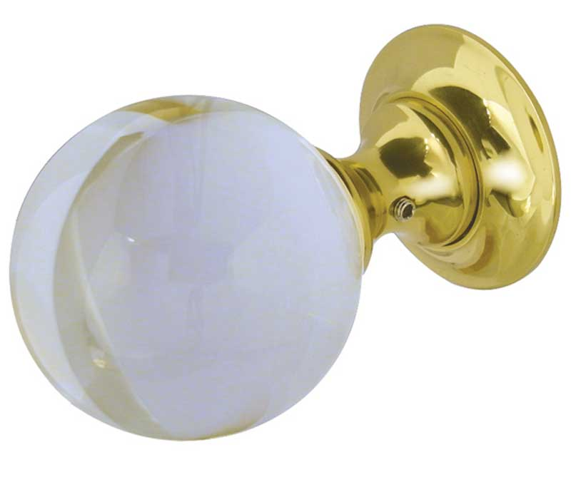 frelan jedo collection Plain Ball Glass Mortice Door Knobs - JH1150 polished brass