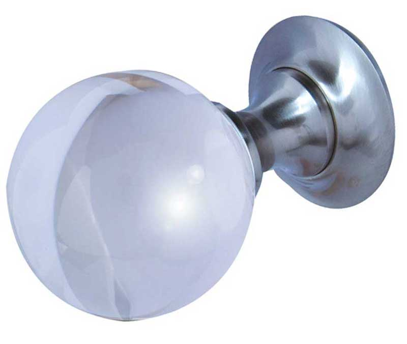 satin nickel Plain Ball Glass Mortice Door Knobs - JH1150