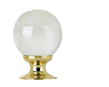 JH1151PB Clear Glass Cupboard Knob Polished Brass
