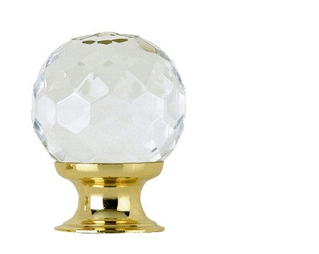 JH1155PB Faceted Glass Cupboard Knob Polished Brass - Various Sizes