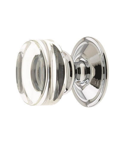 Jedo Frelan Moderno Polished Chrome Glass Mortice Door Knobs JH1171
