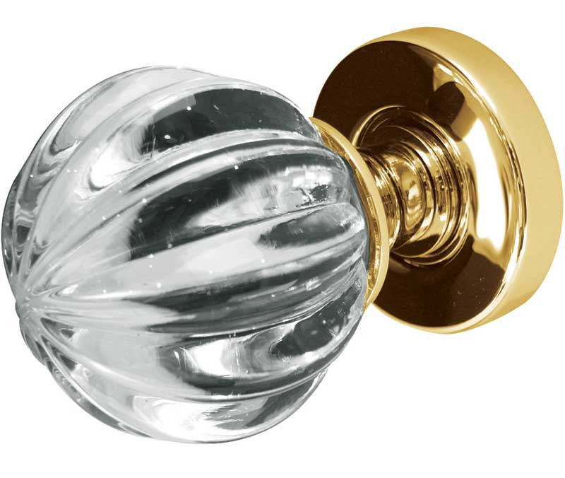 Jedo Pumpkin Glass Mortice Door Knobs Polished Brass