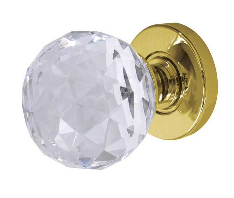 Jedo Cut Glass Door Knob - Polished Brass
