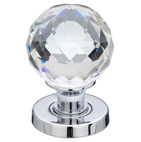Frelan Hardware JH5255PC Faceted Glass Door Knobs Polished Chrome Finish, Jedo Collection