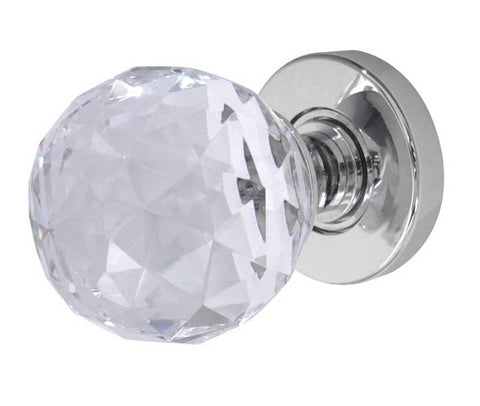 Frelan Hardware JH5255PC Faceted Cut Glass Crystal Door Knobs Polished Chrome Finish, Jedo Collection