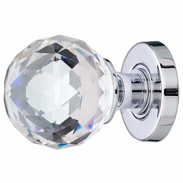 Jedo Cut Glass Crystal Faceted Mortice Door Knobs - Polished Chrome