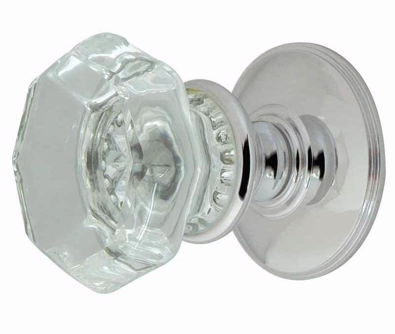 Polished Chrome Flower-Octagonal Glass Mortice Door Knobs - JH7020PC