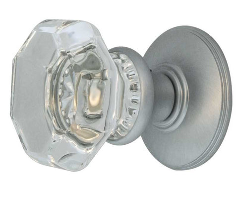 satin Chrome Flower-Octagonal Glass Mortice Door Knobs - JH7020SC