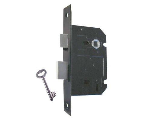 Matt Black 3 Lever Mortice Sash Lock - Matt Black Plates 2.5 INCH