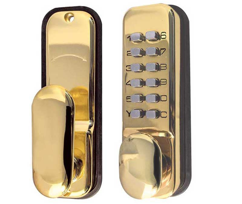 Brass Digital Door Lock with Holdback