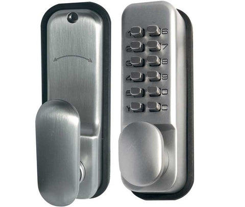 Satin Chrome Digital Door Lock with Holdback