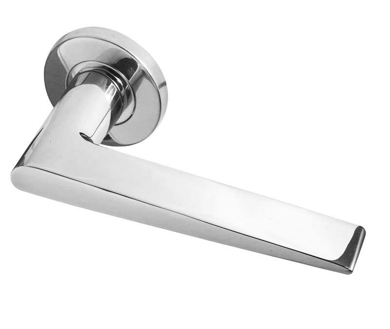 Meteor Polished Stainless Steel Door Handles On Rose