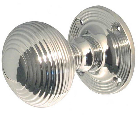 Reeded Beehive Mortice Knobs Polished Chrome JR6MPC