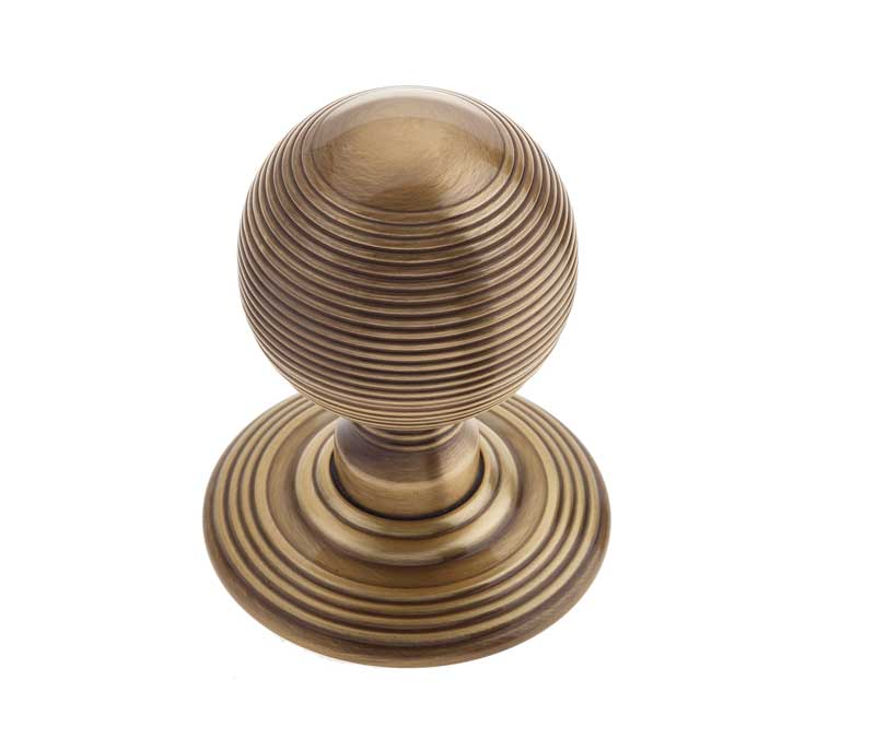JR8MAB Frelan Hardware Reeded Antique Brass Door Knobs