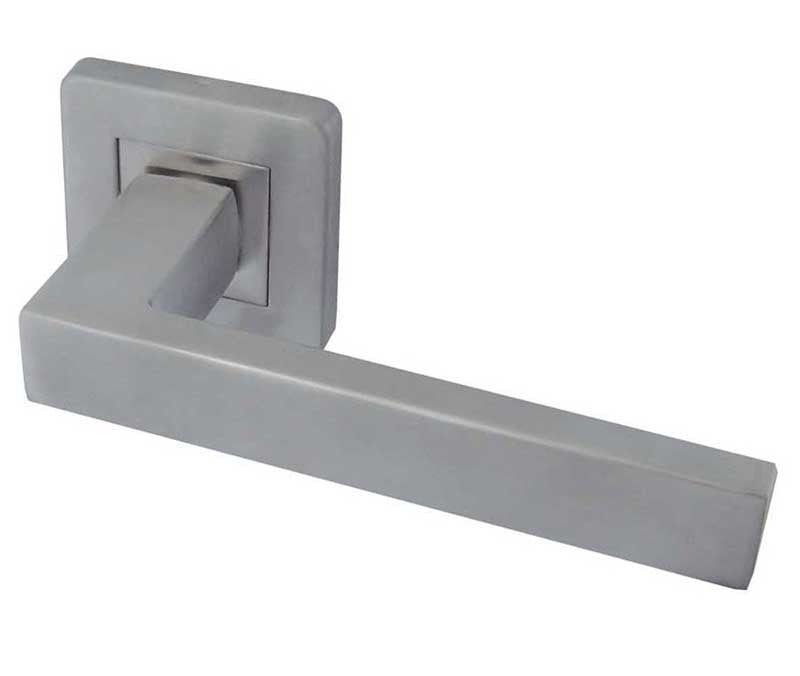Sirius Satin Stainless Steel Door Handle On Rose