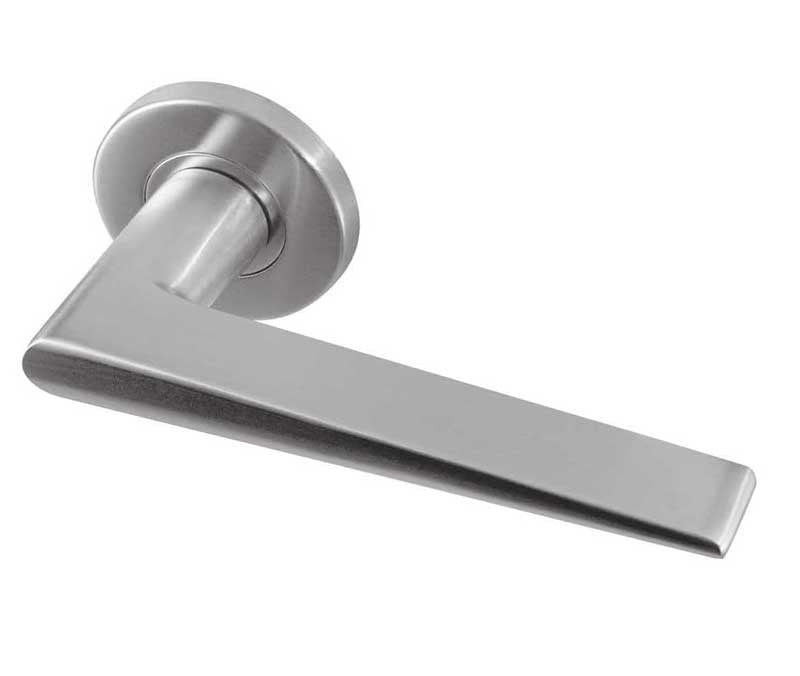 Meteor Satin Stainless Steel Door Handles On Rose
