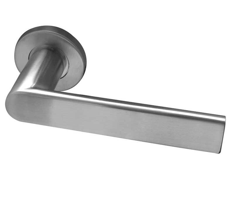 Sandrine Satin Stainless Steel Door Handles On Round Rose