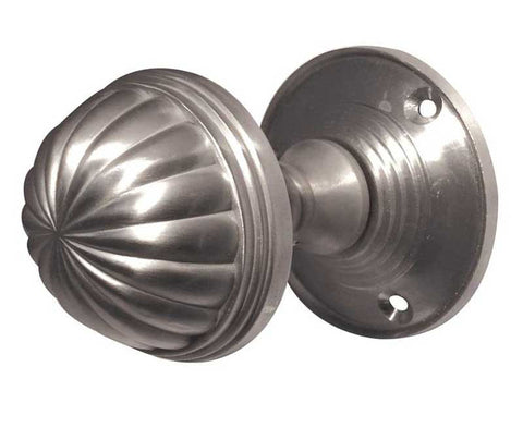 Brushed Satin Chrome JV183MSC Fluted Mortice Door Knobs