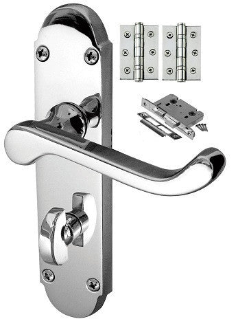 Epsom Door Handle on Backplate Pack - Bathroom Lock - Chrome/Satin Finish