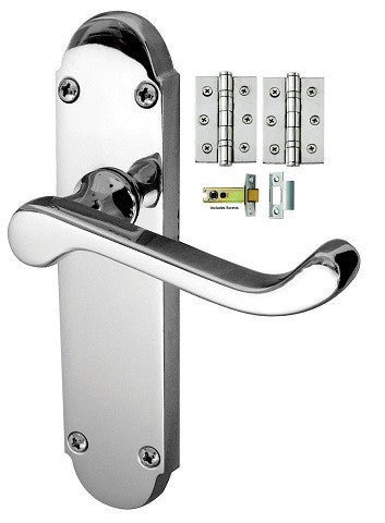 Epsom Door Handle on Backplate Pack - Latch - Chrome/Satin Finish