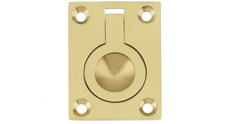 JV424 Polished Brass Flush Ring 38 x 50mm