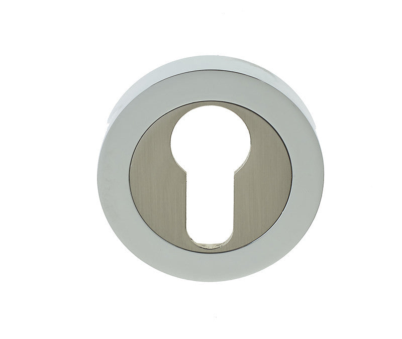 Dual Finish Polished Chrome/Satin Nickel EURO PROFILE Escutcheon JV503EPCSN