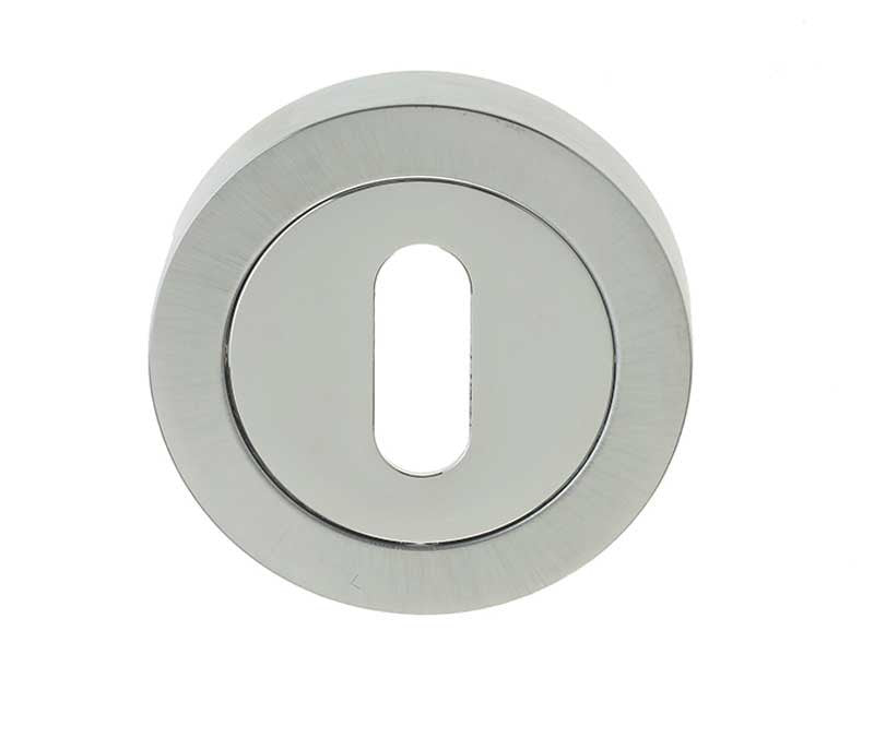 Dual Finish Polished/Satin Chrome British Standard Keyhole Escutcheon Plate JV503PCSC