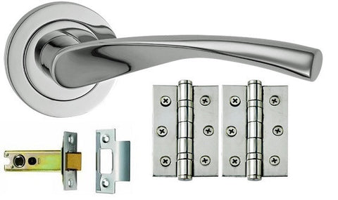 Polished or Satin Chrome Door Handle Packs - Latch, Locking & Bathroom Doors - DHUK504