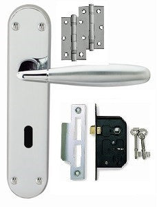 Door Handle on Backplate Pack - Stylo Lock - Dual Finish