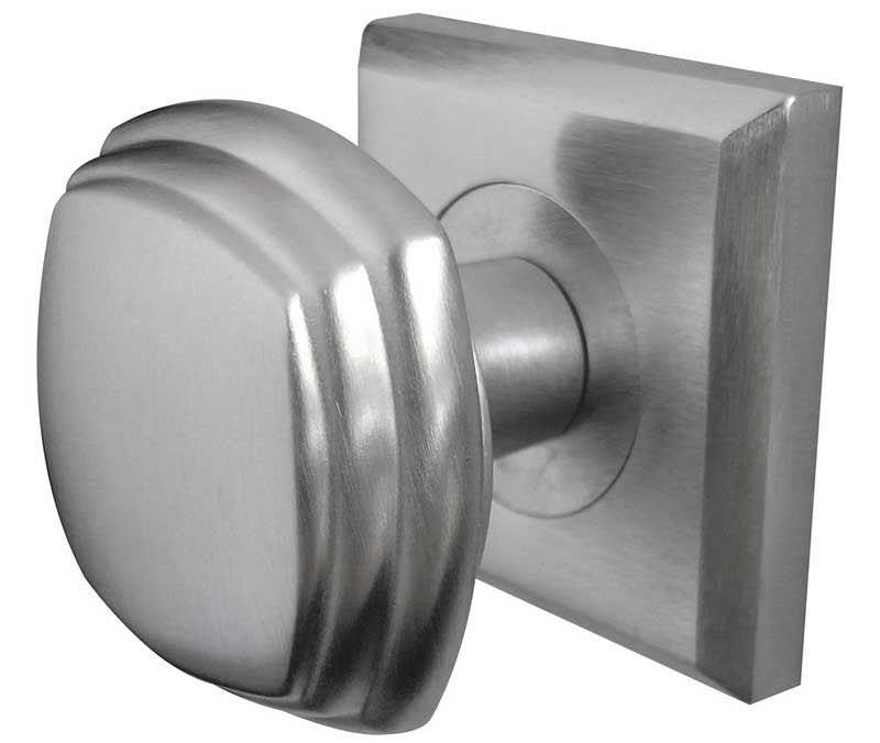JV74SC Art Deco Mortice Door Knobs Satin Chrome