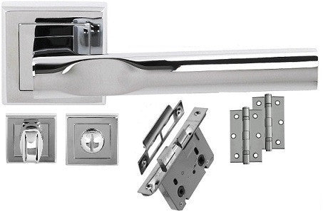Kansas Chrome/Satin Chrome - Bathroom - Door Handles On Square Rose Pack