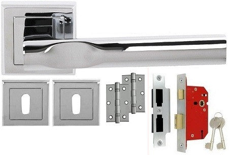 Kansas Chrome/Satin Chrome - Lock - Door Handles On Square Rose Pack