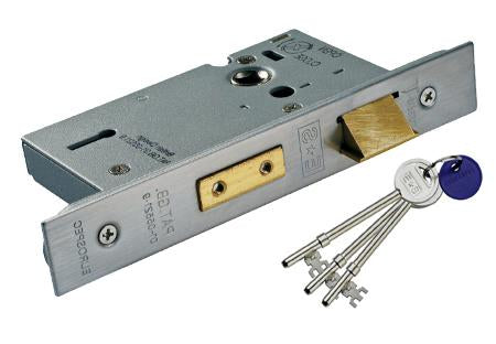 Polished Stainless Steel 3 Lever British Standard BS EN 12209 Sash Lock - 2.5 Inch & 3 Inch