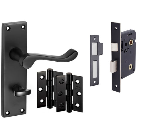 Matt Black Door Handles - Victorian Scroll Lever on Backplate
